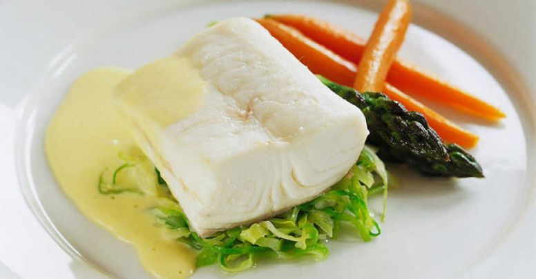 Halibut with hollandaise